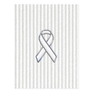 Chrome White Ribbon Awareness on Granular Stripes Postcard