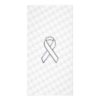 Chrome White Ribbon Awareness on Houndstooth Print Personalized Photo Card