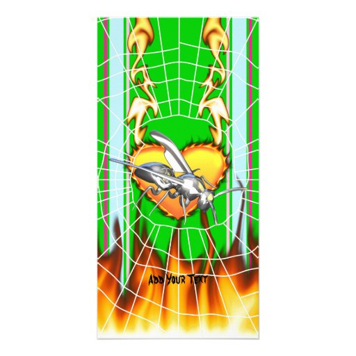 Chrome yellow jacket design 1 with fire and web. custom photo card