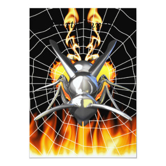 """Chrome yellow jacket design 3 with fire and web. 5"""" x 7"""" invitation card"""