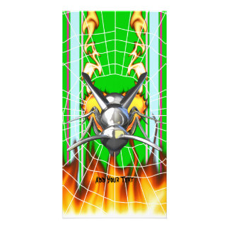 Chrome yellow jacket design 3 with fire and web photo card template