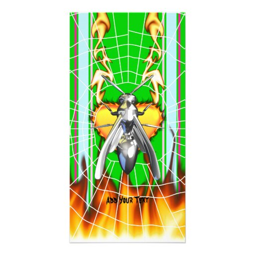 Chrome yellow jacket design 4 with fire and web. personalized photo card