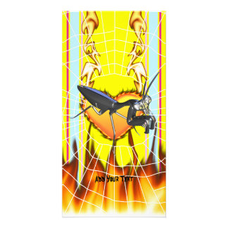 Chromed praying mantis design 1 with fire and web customized photo card