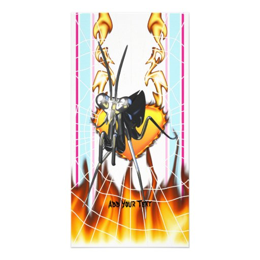 Chromed praying mantis design 2 with fire and web. photo greeting card
