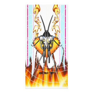 Chromed praying mantis design 3 with fire and web photo greeting card