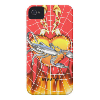 Chromed scorpion design 1 with fire and we iPhone 4 cover