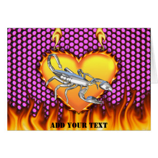 Chromed scorpion design 1 with fire greeting card