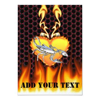 "Chromed scorpion design 1 with fire 5"" x 7"" invitation card"