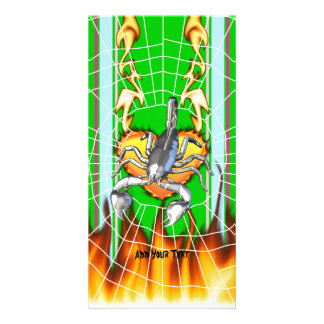 Chromed scorpion design 2 with fire and web. personalized photo card