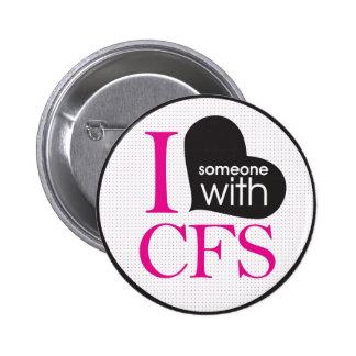 Chronic Fatigue Awareness pink and black Button