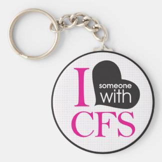 Chronic Fatigue Awareness (pink and black) Key Ring