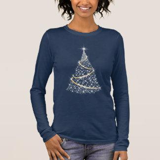 Chrsitmas Tree Star Pattern, Ladies Navy Tee