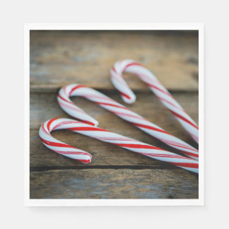 Chrstmas Candy Canes on Vintage Wood Disposable Serviette