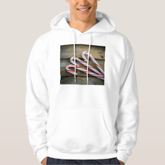Chrstmas Candy Canes on Vintage Wood Hoodie