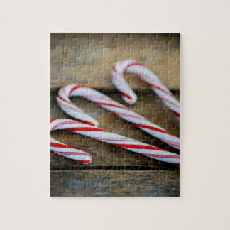 Chrstmas Candy Canes on Vintage Wood Jigsaw Puzzle