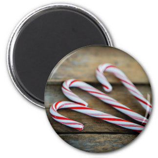 Chrstmas Candy Canes on Vintage Wood Magnet