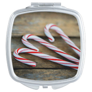 Chrstmas Candy Canes on Vintage Wood Mirror For Makeup