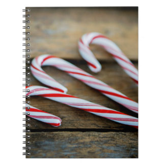 Chrstmas Candy Canes on Vintage Wood Notebook