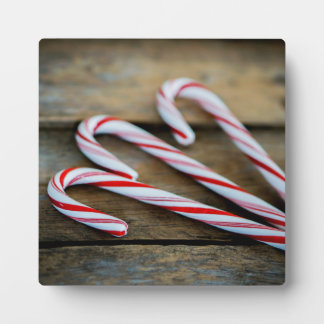 Chrstmas Candy Canes on Vintage Wood Plaque