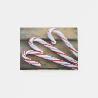 Chrstmas Candy Canes on Vintage Wood Post-it Notes