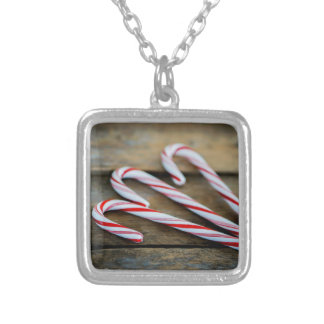 Chrstmas Candy Canes on Vintage Wood Silver Plated Necklace