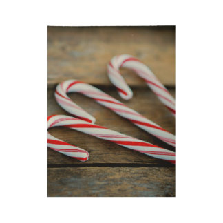 Chrstmas Candy Canes on Vintage Wood Wood Poster