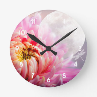 Chrysanthemum and Moon Round Clock