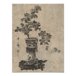 Chrysanthemum Bonsai In Oriental Dragon Vase Poster