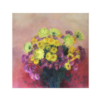 Chrysanthemum bouquet - Oil painting Canvas Print