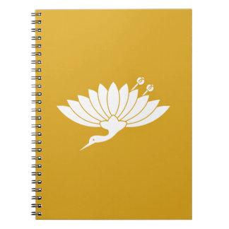 Chrysanthemum crane spiral notebook