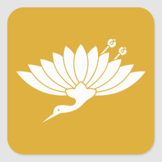 Chrysanthemum crane square sticker