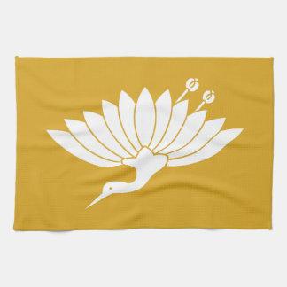 Chrysanthemum crane tea towel