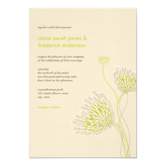 "Chrysanthemum Flowers Floral Elegant Chic Wedding 5"" X 7"" Invitation Card"
