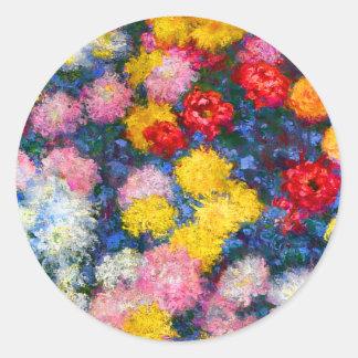 Chrysanthemum Flowers Monet Round Stickers