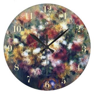 Chrysanthemum Flowers Renoir Fine Art Large Clock