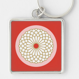 Chrysanthemum I Silver-Colored Square Key Ring