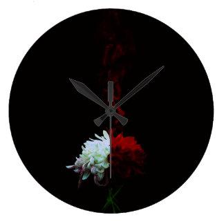 Chrysanthemum one 凛 - Chrysanthemum- Large Clock