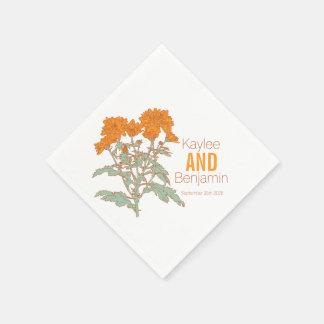 Chrysanthemum orange fall flower wedding napkins paper napkin