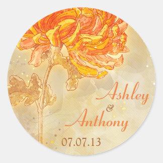Chrysanthemum Orange Floral Wedding Envelope Seal Round Sticker