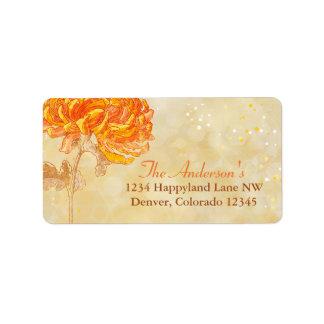 Chrysanthemum Orange Wedding Return Address Label