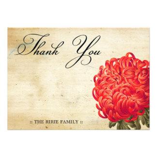 Chrysanthemum Red Vintage Thank You Cards