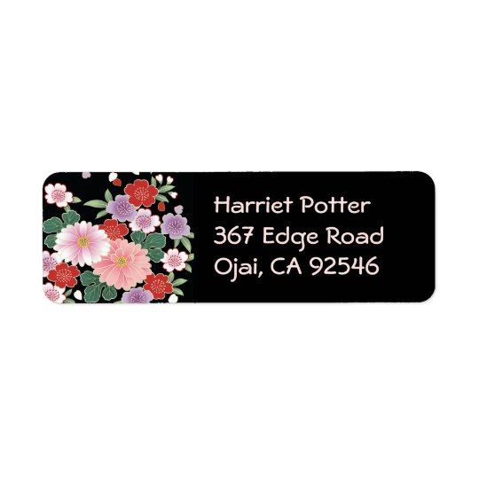 Chrysanthemum & Sakura Japanese Fine Art Return Address Label