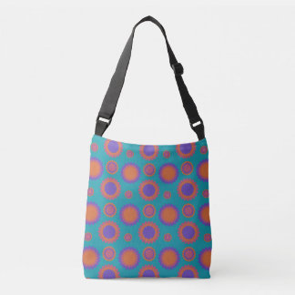 Chrysanthemum Triple Flowers Teal Purple Orange Crossbody Bag
