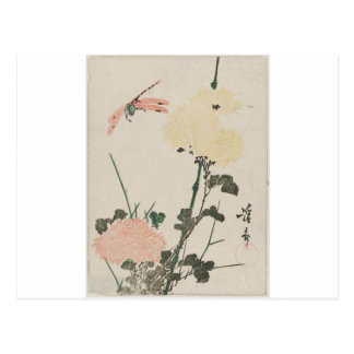 Chrysanthemums and Dragonfly by Keisai Eisen Postcard