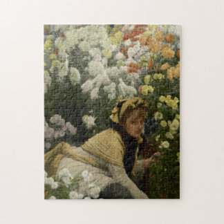Chrysanthemums by James Tissot Fine Art Jigsaw Puzzle