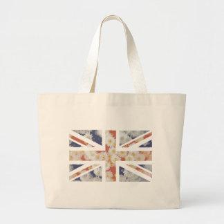 Chrysanthemums Flower Union Jack British(UK) Flag Canvas Bag