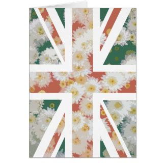 Chrysanthemums Flower Union Jack British(UK) Flag Greeting Cards