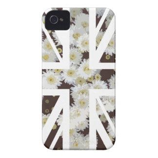 Chrysanthemums Flower Union Jack British(UK) Flag iPhone 4 Case