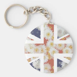 Chrysanthemums Flower Union Jack British(UK) Flag Keychains