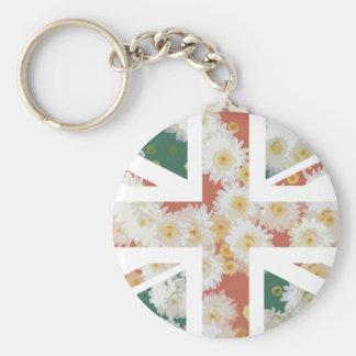 Chrysanthemums Flower Union Jack British UK Flag Key Chains
